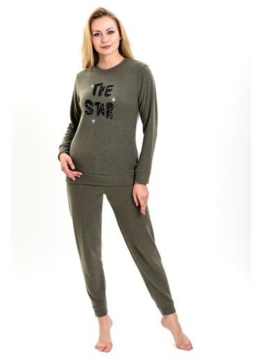 Lingabooms Kadın Pijama 4 Mevsimnakışlı Üst Pantolon 2'li Takım Haki